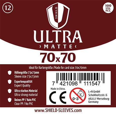 Shield Ultra Matte - 100 Super Sleeves für Kartengröße 70 x 70 mm
