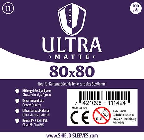 Shield Ultra Matte - 100 Super Sleeves für Kartengröße 80 x 80 mm