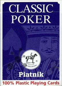 Classic Poker Plastik-Spielkarten blau/rot