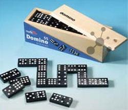 Domino in Holzkassette (55 Steine) (Noris)